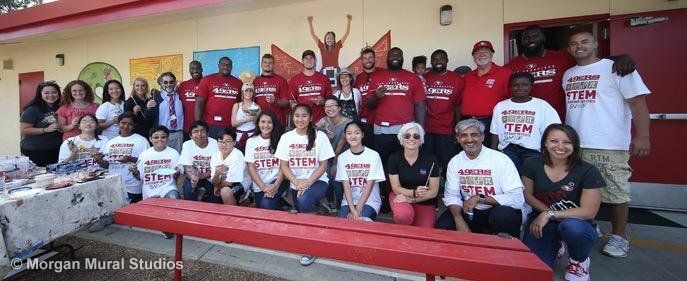 Teaming Up with the 49ers to Paint a Mural at Cabrillo Middle School