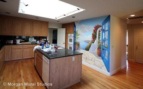 Santorini in the Kitchen - Trompe L'Oeil Mural