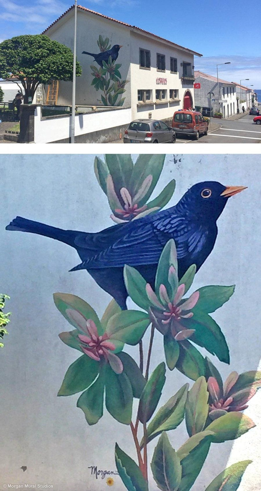 Melro mural at the post office building