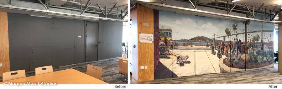 Google.org community space mural, before and after