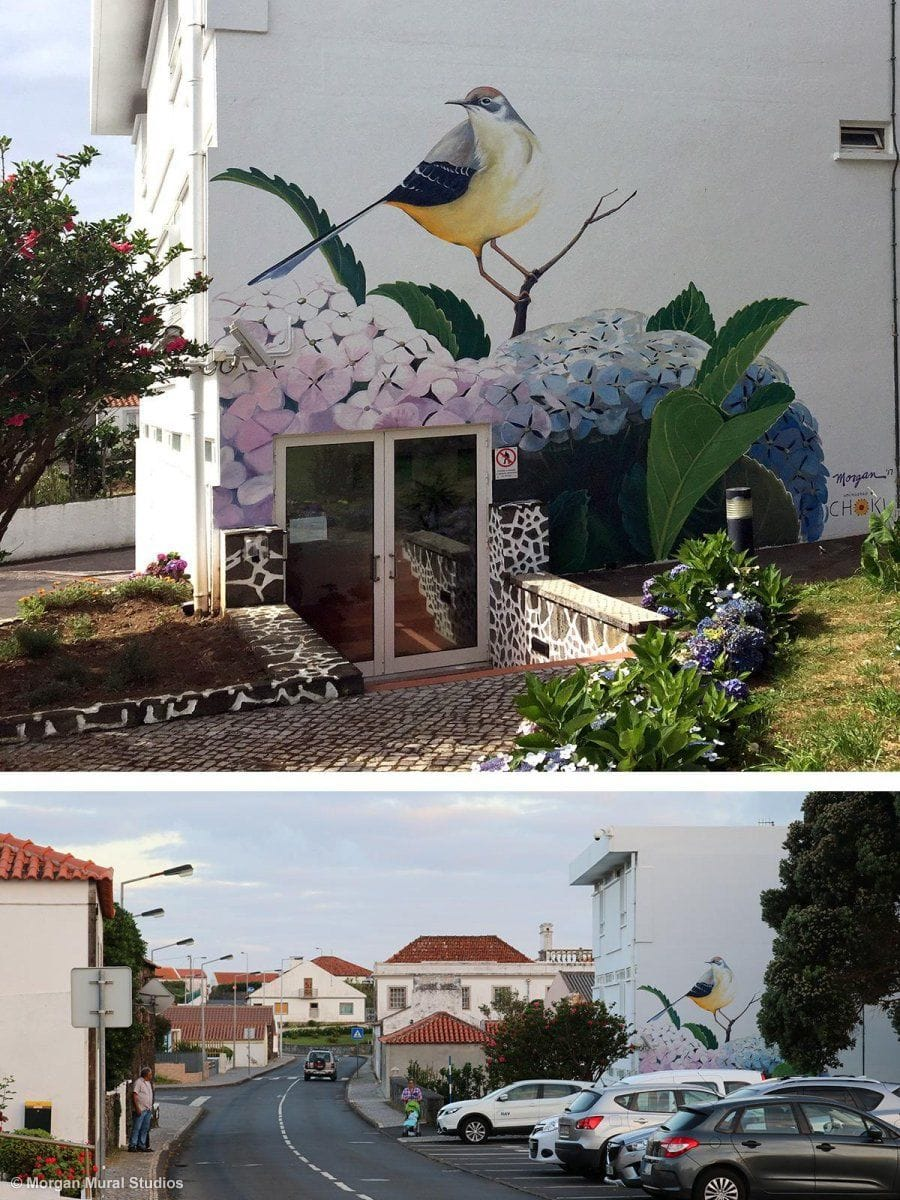 Wagtail mural at the airport control tower