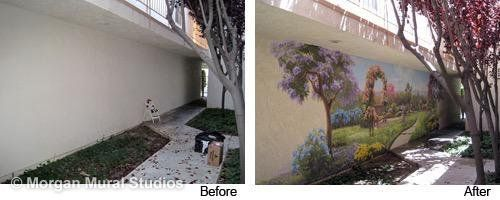 Before and after, Carol Kreitz exterior wall mural