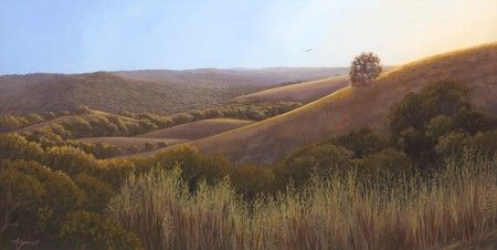 "Acrylic painting on canvas: ""Montebello Preserve at Dusk"""