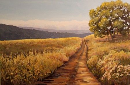 "Acrylic painting on canvas: ""Montebello Afternoon Path"""