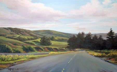 "Acrylic painting on canvas: ""San Gregorio Highway"""